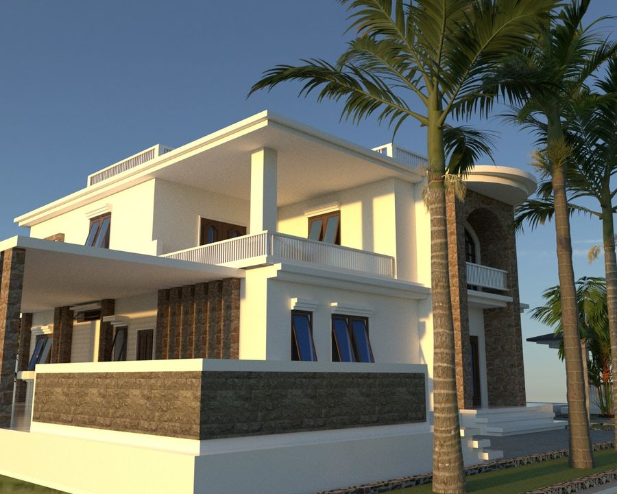Classic House Exterior Design Sketchup royalty-free 3d model - Preview no. 3