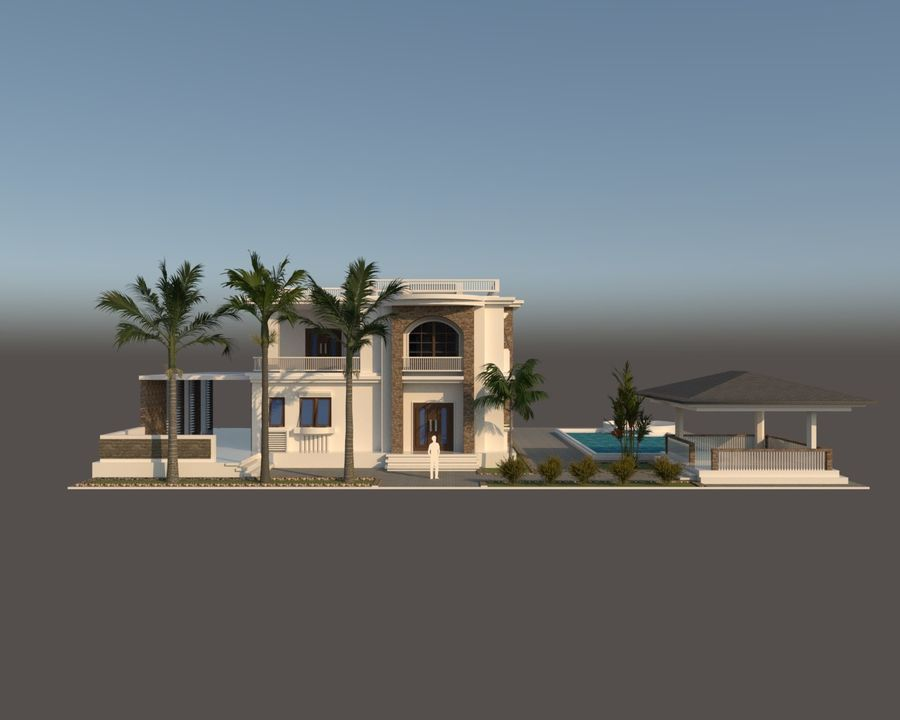 Classic House Exterior Design Sketchup royalty-free 3d model - Preview no. 1