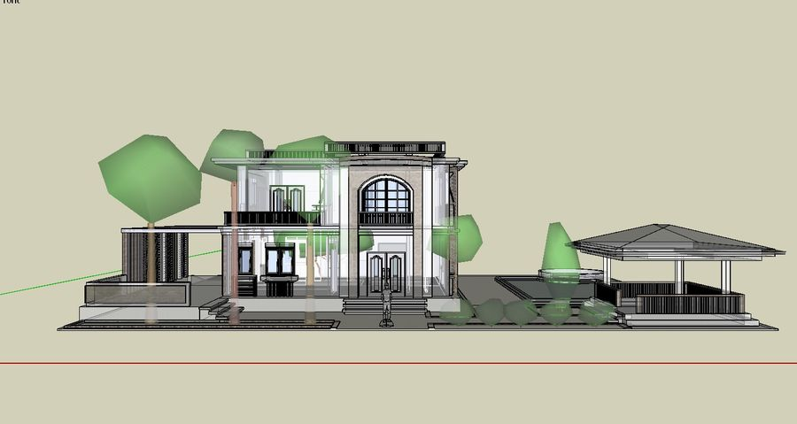 Classic House Exterior Design Sketchup royalty-free 3d model - Preview no. 6