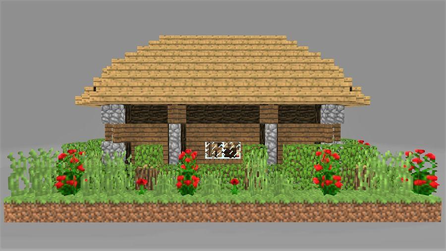 Maison Minecraft 1 Modele 3d 10 Obj Max Fbx Free3d