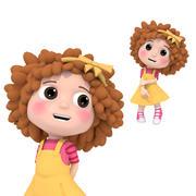 소녀 곱슬 머리 3d model