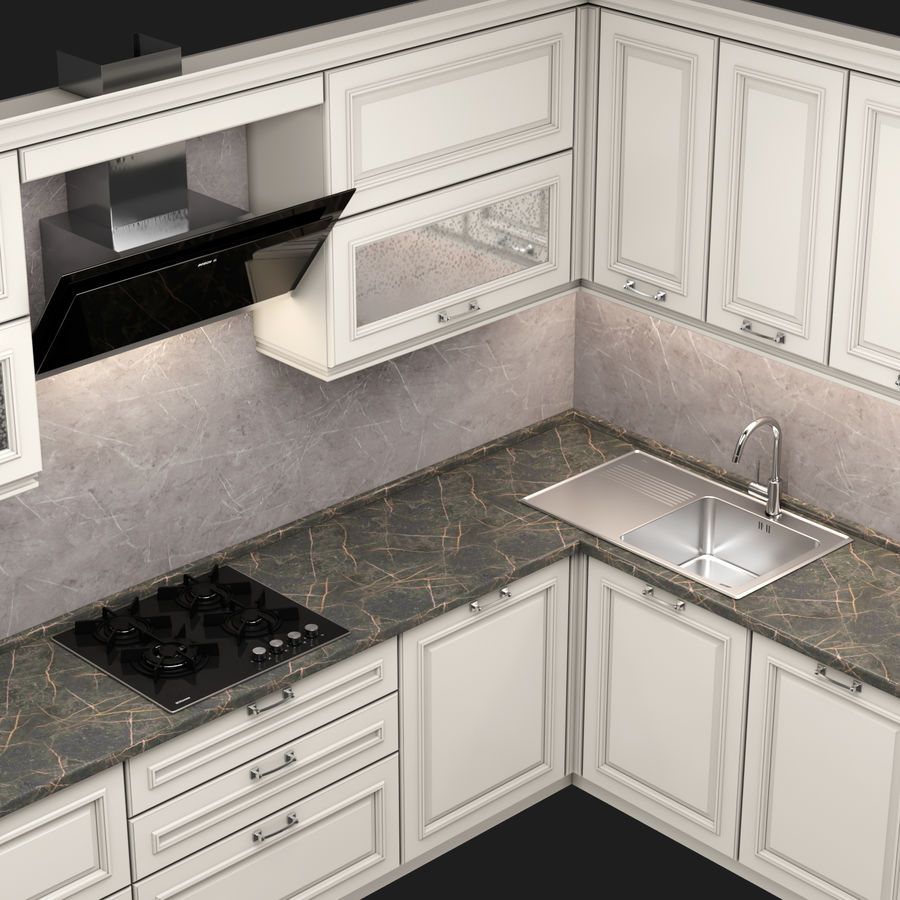 Corner Kitchen royalty-free 3d model - Preview no. 4