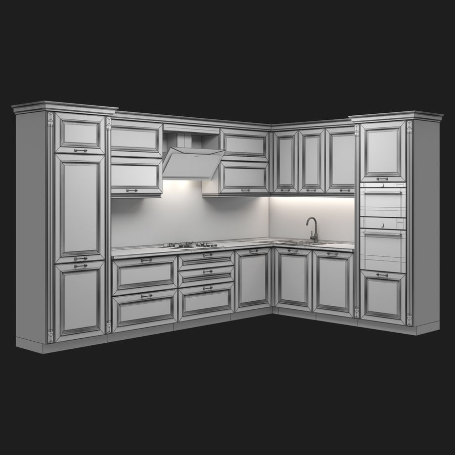 Corner Kitchen royalty-free 3d model - Preview no. 6