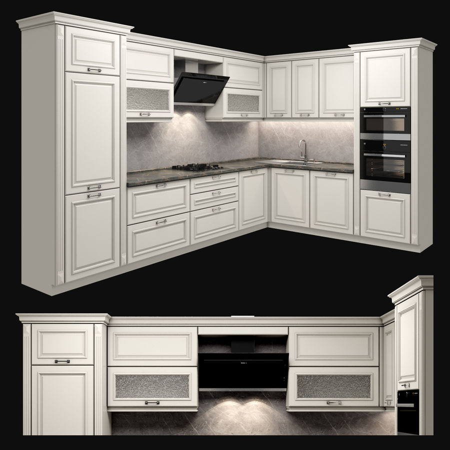 Corner Kitchen royalty-free 3d model - Preview no. 1