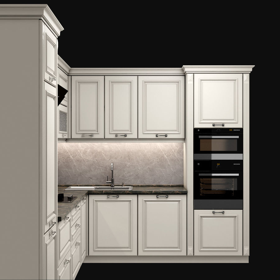 Corner Kitchen royalty-free 3d model - Preview no. 2
