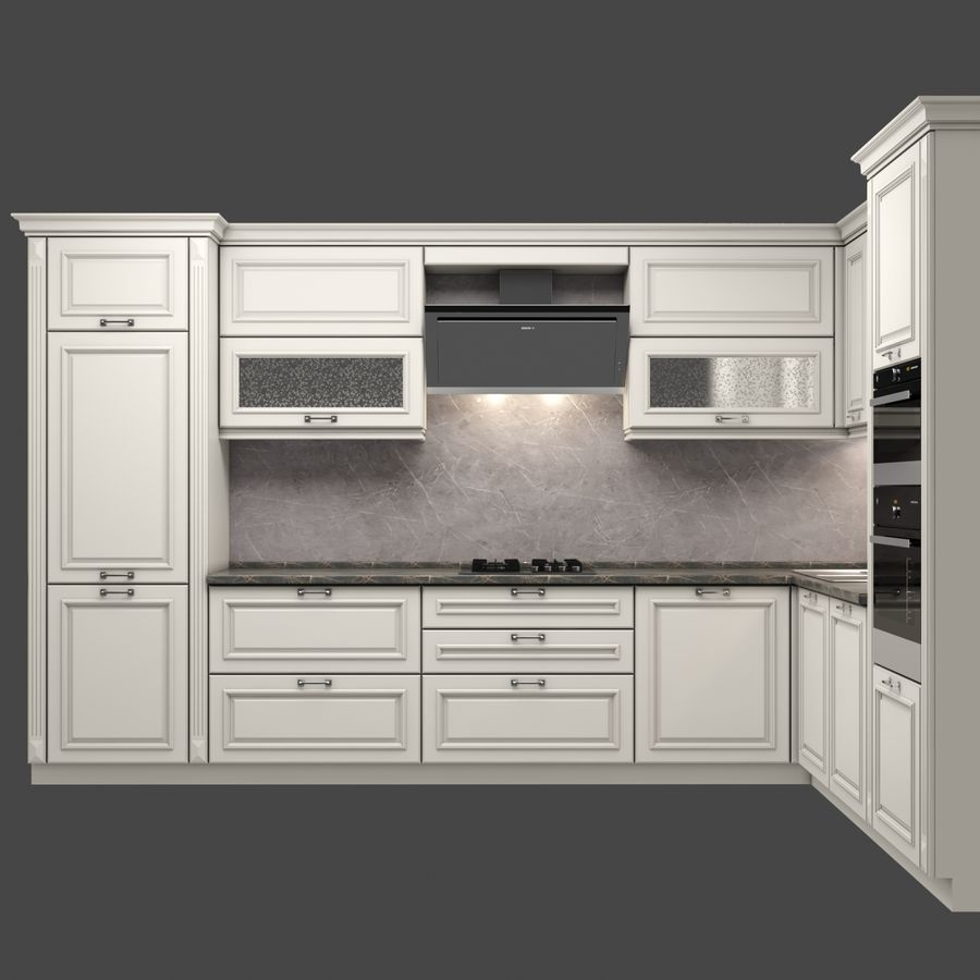 Corner Kitchen royalty-free 3d model - Preview no. 3