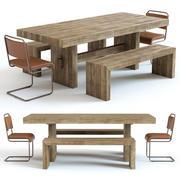 West Elm - Table Emmerson et chaises industrielles 3d model