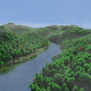 Горы и озеро 3d model