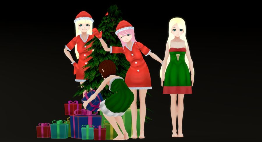 Personajes femeninos de anime - Navidad royalty-free modelo 3d - Preview no. 6