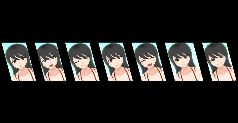 Personajes femeninos de anime - Navidad royalty-free modelo 3d - Preview no. 3
