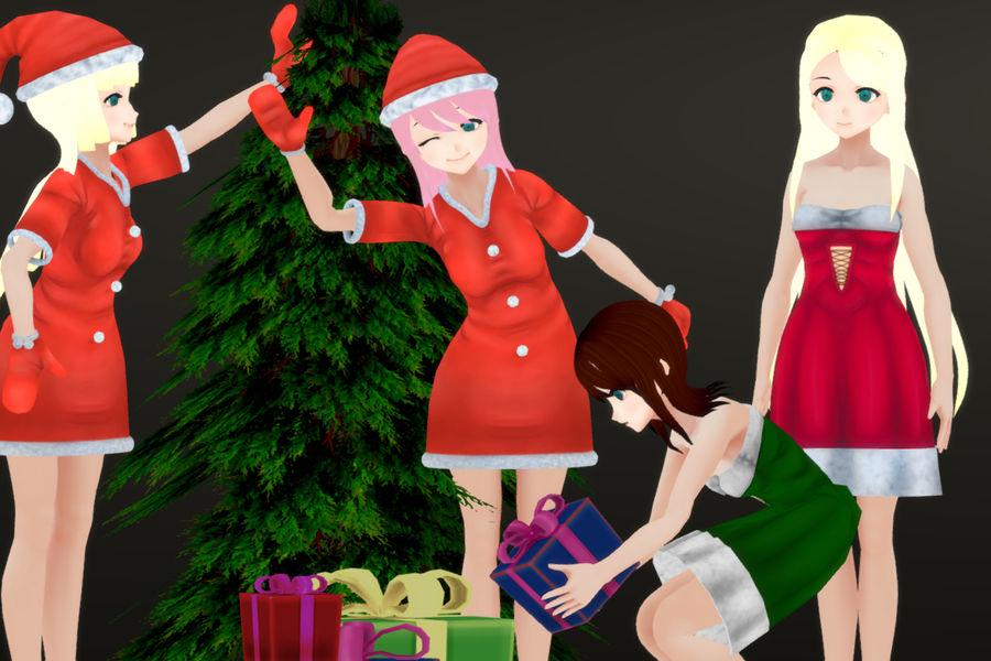 Personajes femeninos de anime - Navidad royalty-free modelo 3d - Preview no. 1