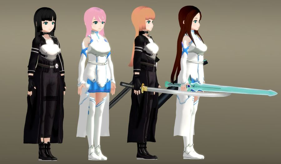 Anime Female Characters - Fantasy Fighters royalty-free 3d model - Preview no. 4