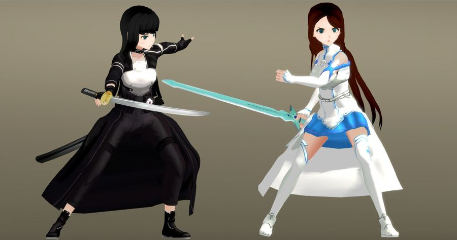 Anime Female Characters - Fantasy Fighters royalty-free 3d model - Preview no. 1