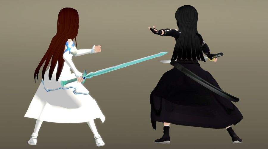 Anime Female Characters - Fantasy Fighters royalty-free 3d model - Preview no. 3