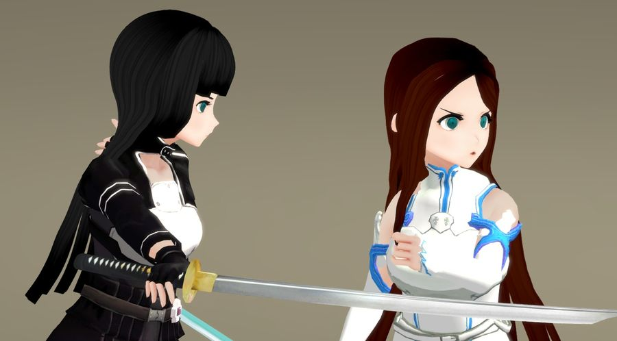 Anime Female Characters - Fantasy Fighters royalty-free 3d model - Preview no. 2