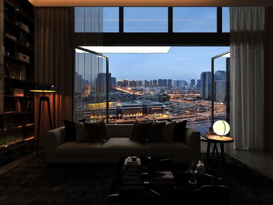 Vardagsrum med panoramafönster och möbler royalty-free 3d model - Preview no. 5