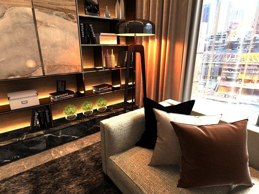 Vardagsrum med panoramafönster och möbler royalty-free 3d model - Preview no. 3