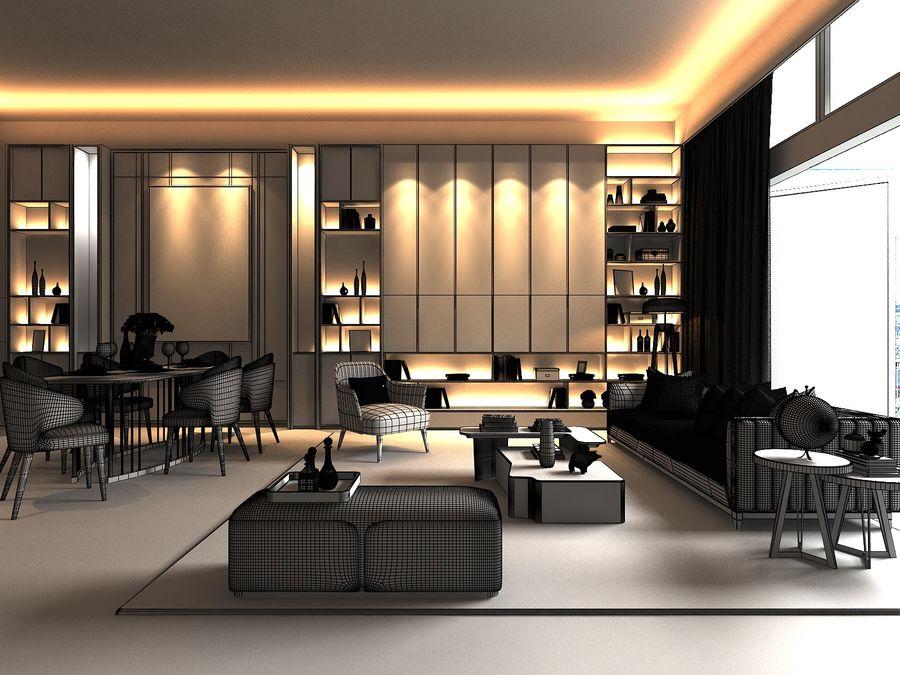 Vardagsrum med panoramafönster och möbler royalty-free 3d model - Preview no. 6