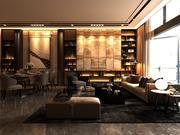 Vardagsrum med panoramafönster och möbler 3d model