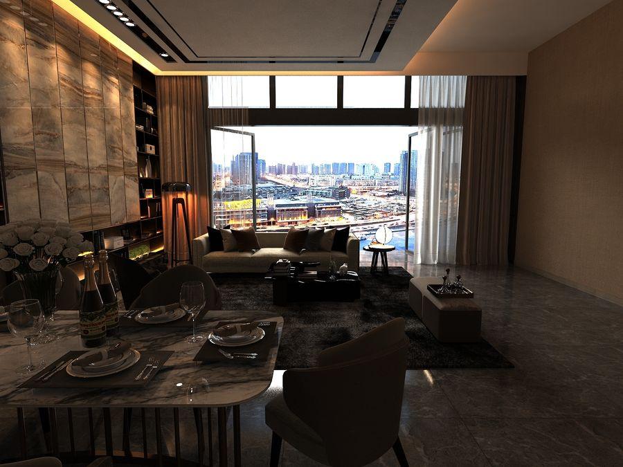 Vardagsrum med panoramafönster och möbler royalty-free 3d model - Preview no. 4