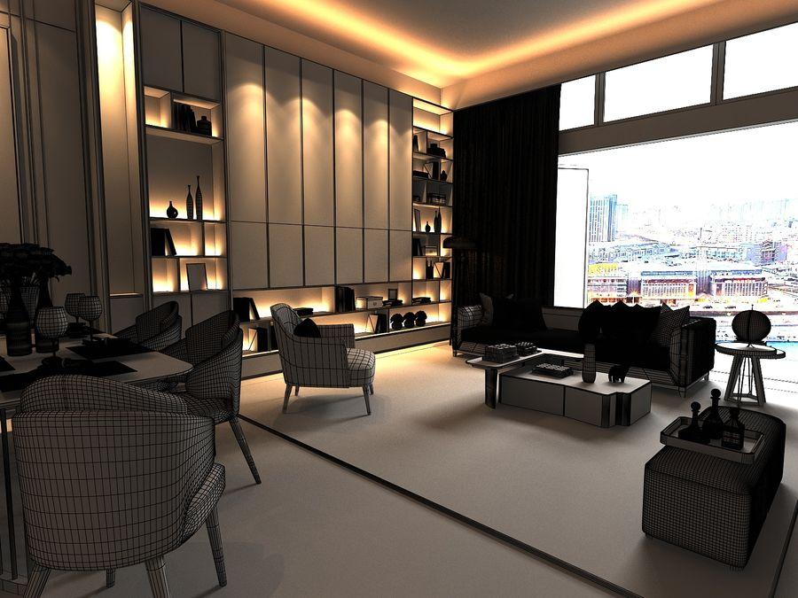 Vardagsrum med panoramafönster och möbler royalty-free 3d model - Preview no. 7