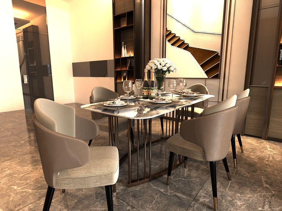 Vardagsrum med panoramafönster och möbler royalty-free 3d model - Preview no. 2