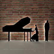 piano, piano et personnes 3d model