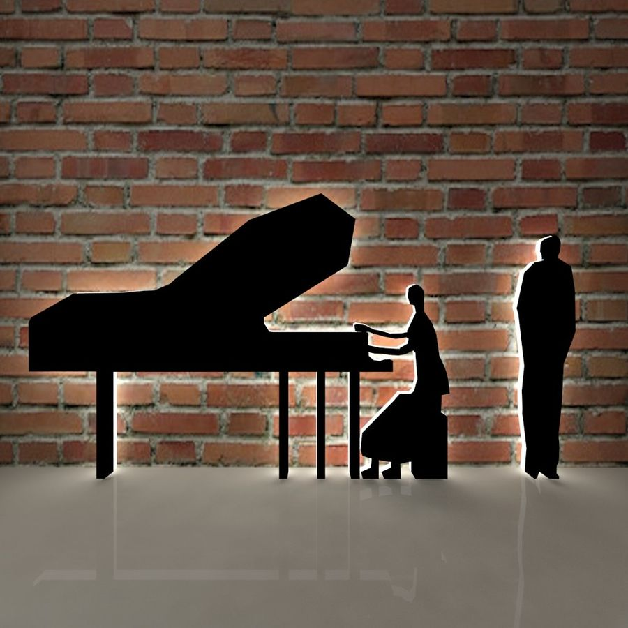 piano, piano et personnes royalty-free 3d model - Preview no. 1