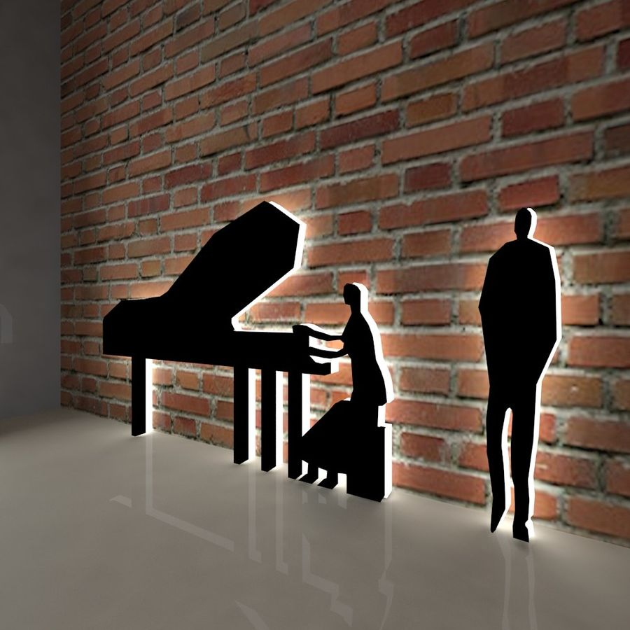 piano, piano et personnes royalty-free 3d model - Preview no. 5