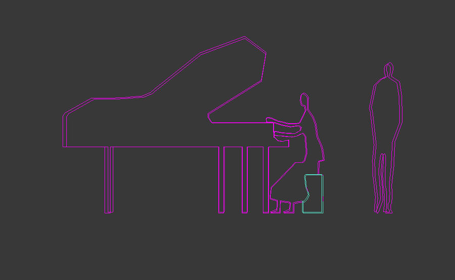 piano, piano et personnes royalty-free 3d model - Preview no. 7