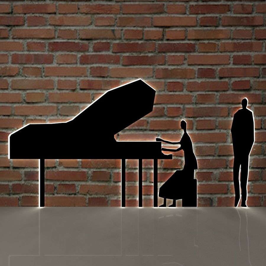 piano, piano et personnes royalty-free 3d model - Preview no. 2