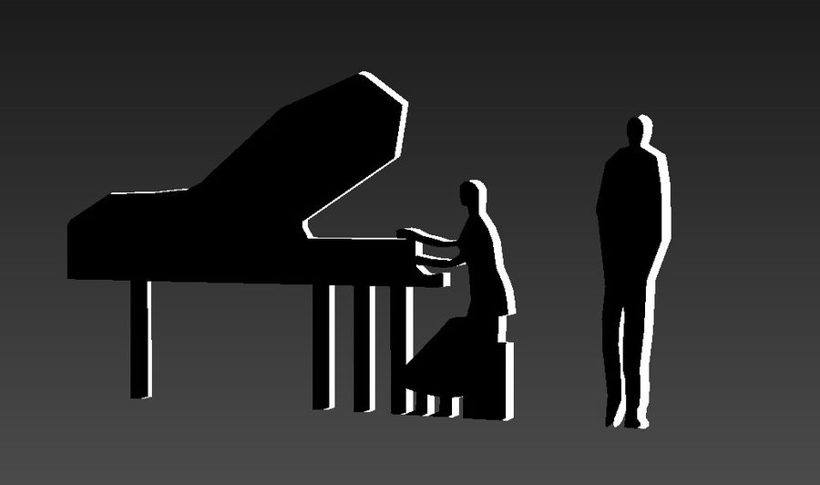 piano, piano et personnes royalty-free 3d model - Preview no. 6