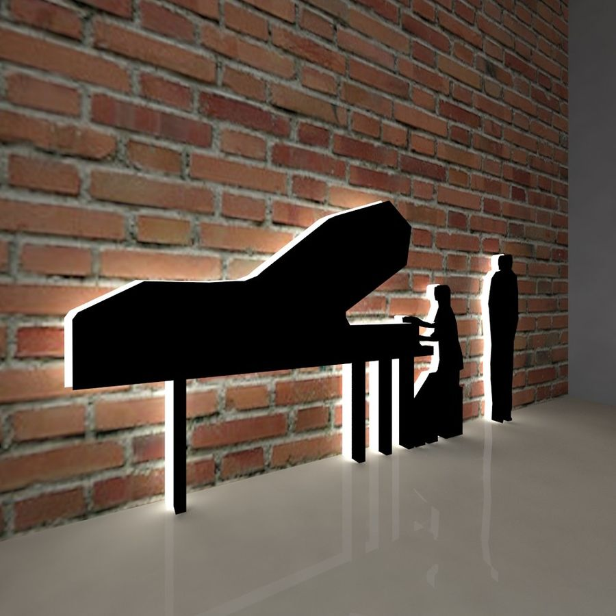 piano, piano et personnes royalty-free 3d model - Preview no. 4