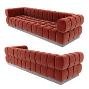 Todd Merrill Custom Original-Sofa mit verlängertem Rücken und orangefarbenem Samt 3d model