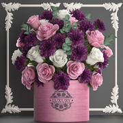 bukett med rosa blommor i en presentask 93 3d model