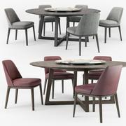 Poliform Sophie chair Concorde round table set 3d model