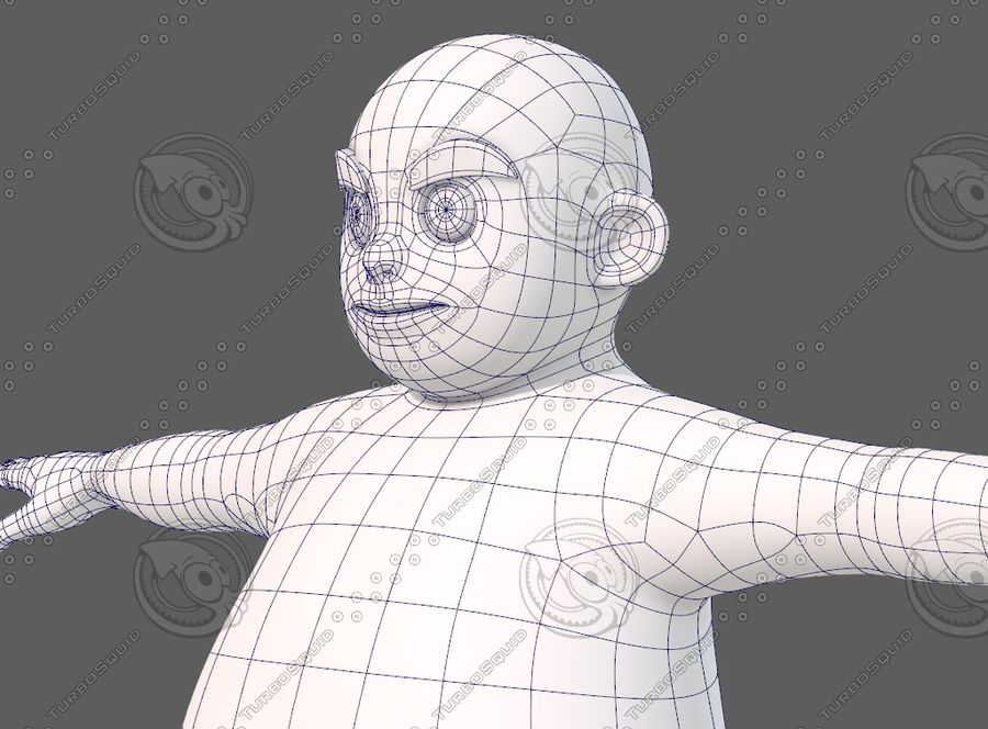 Base mesh boy character V12 royalty-free 3d model - Preview no. 33