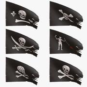 Kolekcja flag piratów 3d model