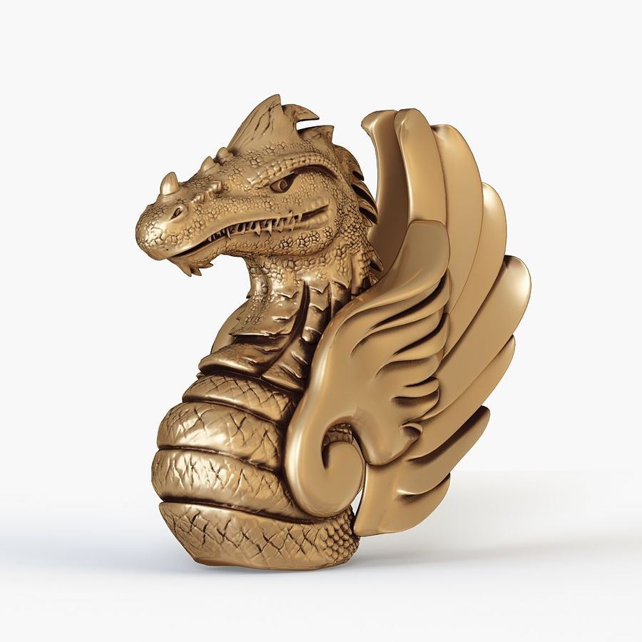 Dragon bust royalty-free 3d model - Preview no. 2