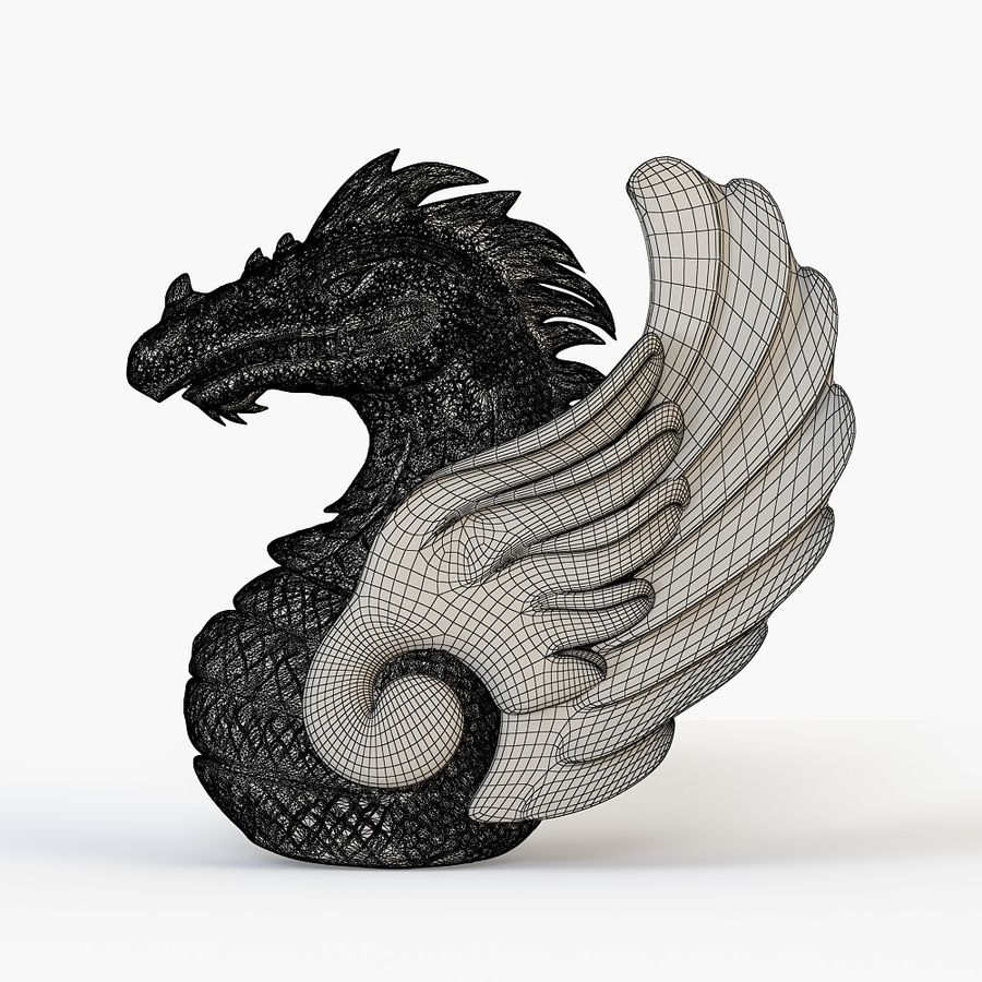 Dragon bust royalty-free 3d model - Preview no. 6
