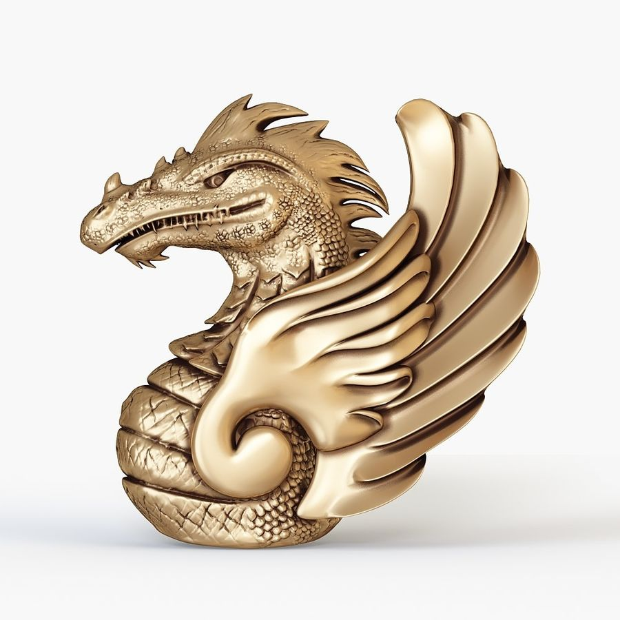 Dragon bust royalty-free 3d model - Preview no. 1