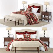 Pottery Barn - Raleigh Beige Bed 3d model