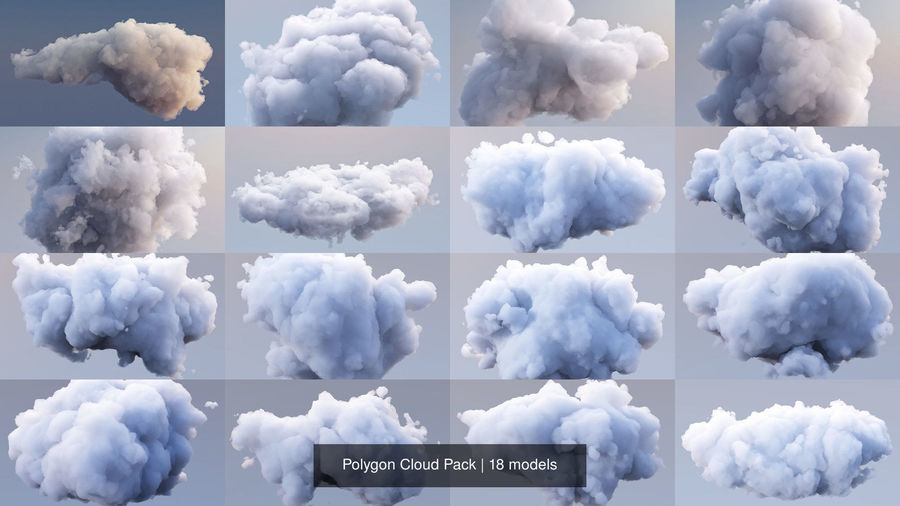 Polygon Cloud Pack royalty-free 3d model - Preview no. 3