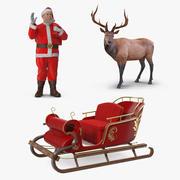 Weihnachtsmann und Schlitten mit Elch-Sammlung 3d model