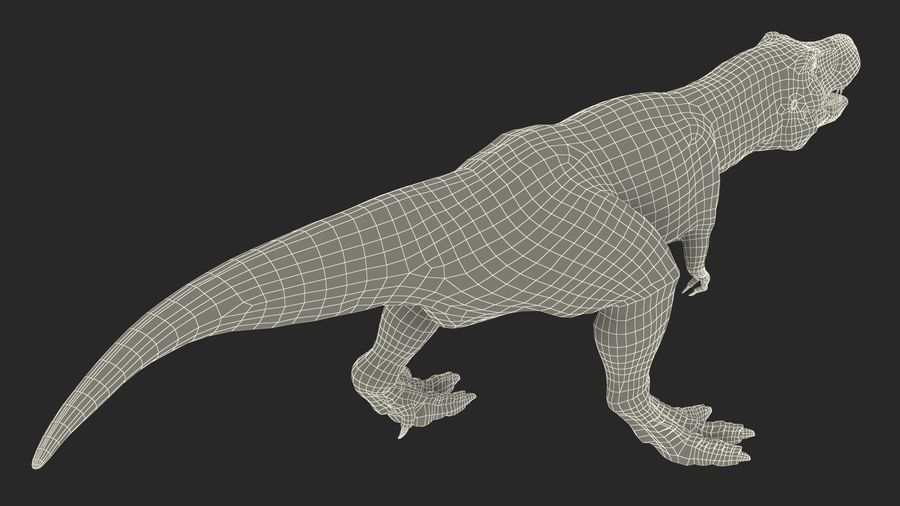 Tyrannosaurus Rex Skeleton Fossil with Skin Walking Pose royalty-free 3d model - Preview no. 22