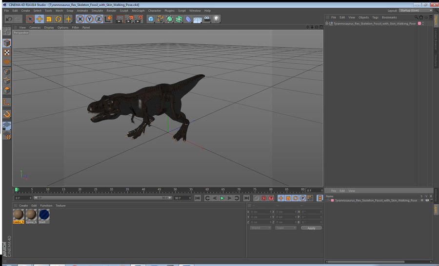 Tyrannosaurus Rex Skeleton Fossil with Skin Walking Pose royalty-free 3d model - Preview no. 20