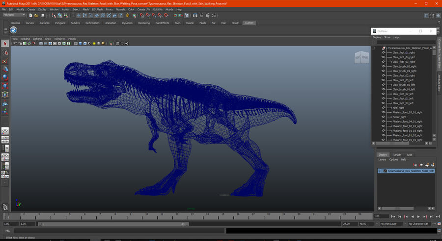 Tyrannosaurus Rex Skeleton Fossil with Skin Walking Pose royalty-free 3d model - Preview no. 19