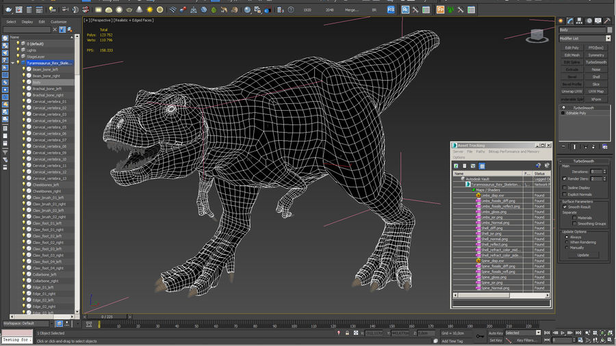 Tyrannosaurus Rex Skeleton Fossil with Skin Walking Pose royalty-free 3d model - Preview no. 21