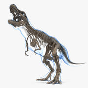 Tyrannosaurus Rex Skeleton Fossil with Skin Standing Pose 3d model