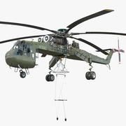 重型直升机Sikorsky S-64 Skycrane Green 3d model